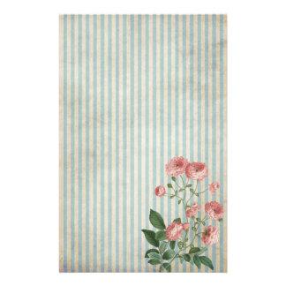 Nostalgische blaue Streifen und kleine rosa Rosen Briefpapier