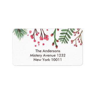 Nostalgische frohe Beeren-Weihnachten Adressaufkleber