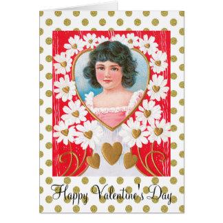 Nostalgische goldene Herzen und weiße Karte