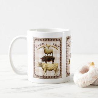 Nostalgische Kaffee-Tasse des Vintagen Farm- der Kaffeetasse