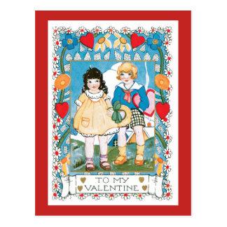 Nostalgische Kinderherzen und -Blume des Postkarte