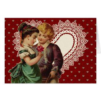 Nostalgischer Valentinsgruß mit Kindern und Karte