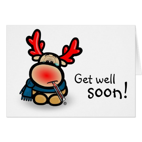 "Note Card ""Get well soon!"" with moose Elmondo Karte"