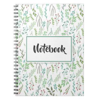 NOTEBOOK - GREEN FLOWER SPIRAL NOTIZBLOCK