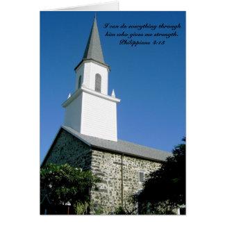 Notecard mit Kirchen- und Philippians-4:13 Karte