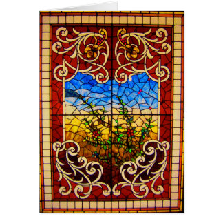 Notecard-Vintages Buntglas Art-12 Karte