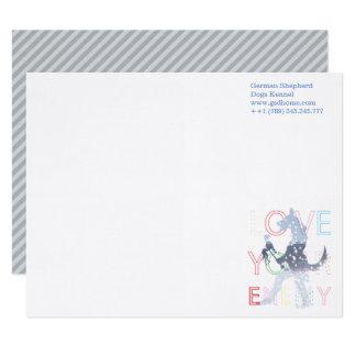 Notecards Schäferhund-Aquarell-Blau Karte