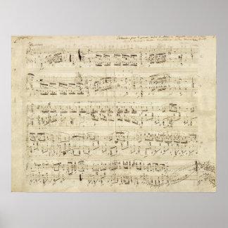 Noten auf dem Pergament handgeschrieben in der Poster