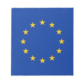 Notizblock mit Flagge der europäischen