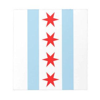 Notizblock mit Flagge von Chicago, Illinois-Staat