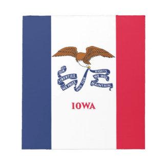 Notizblock mit Flagge von Iowa-Staat