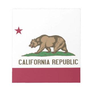Notizblock mit Flagge von Kalifornien-Staat
