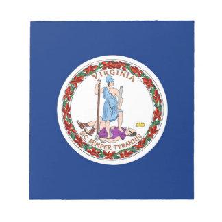Notizblock mit Flagge von Virginia-Staat