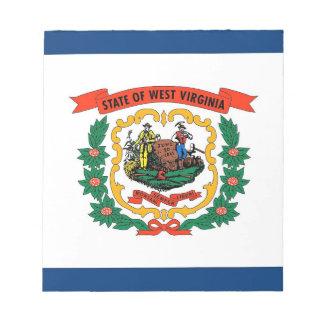 Notizblock mit Flagge von West- VirginiaStaat