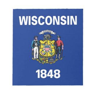 Notizblock mit Flagge von Wisconsin-Staat