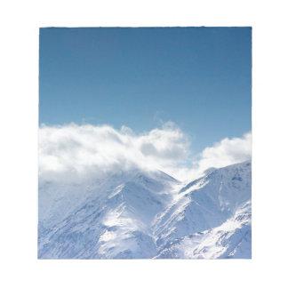 Notizblock mit Foto der Kluane Berge