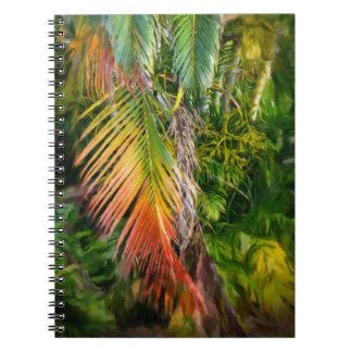 Notizbuch des Palmen-Glühen-2 Notizblock