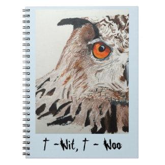 Notizbuch mit Eulenabdeckung Notizblock