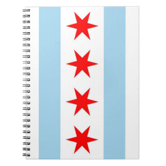 Notizbuch mit Flagge von Chicago, Illinois-Staat Notizblock