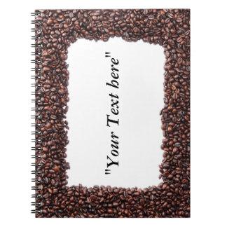 Notizbuch mit Kaffeebohnen Motiv und Textfeld Spiral Notizblock