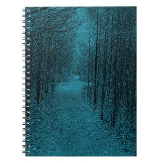 Notizbuch - Naturlehrpfad-Muster hellblau Notizblock