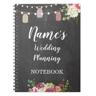 Notizbuch-rüttelt rustikale Hochzeits-Planung Notizblock