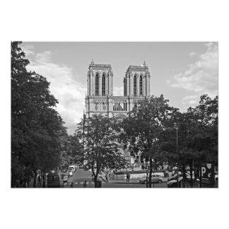 Notre Dame de Paris in der Umwelt der Bäume Fotodruck