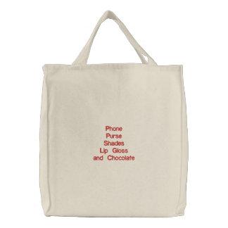 Notwendige Einzelteile Dame! Bestickte Einkaufstasche