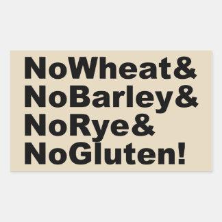 NoWheat&NoBarley&NoRye&NoGluten! (Schwarzes) Rechteckiger Aufkleber