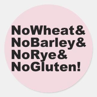 NoWheat&NoBarley&NoRye&NoGluten! (Schwarzes) Runder Aufkleber