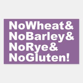 NoWheat&NoBarley&NoRye&NoGluten! (weiß) Rechteckiger Aufkleber