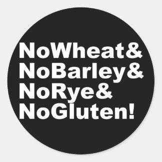 NoWheat&NoBarley&NoRye&NoGluten! (weiß) Runder Aufkleber
