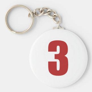 Nr. 3 im Rot auf weißem Knopf keychain Schlüsselanhänger
