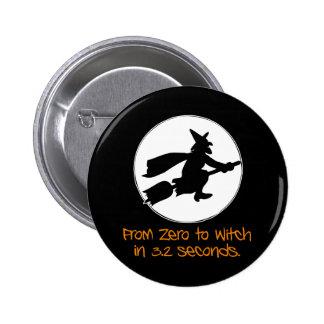 Null zur Hexe-Silhouette-Art Runder Button 5,1 Cm