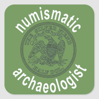 Numismatisches Archäologenabziehbild Quadratischer Aufkleber