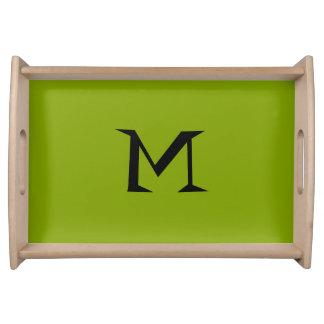 Nur apfelgrünes cooles rustikales festes Monogramm Tablett