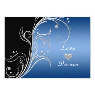 Nur blauer silberner schwarzer 12,7 x 17,8 cm einladungskarte