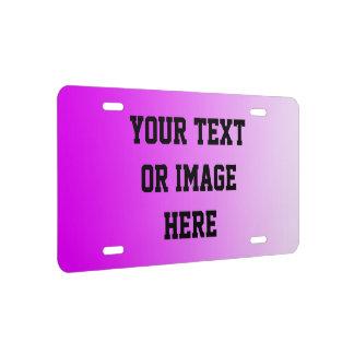 NUR FARBsteigungen - Rosa + Ihr Text US Nummernschild