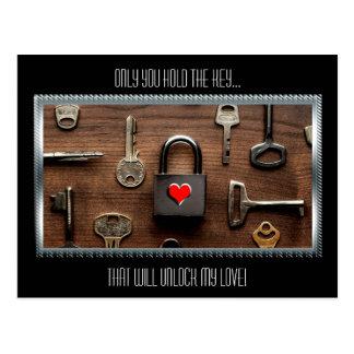 Nur Sie halten das Schlüssel…, das meine Liebe Postkarte