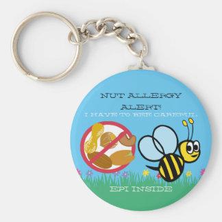 Nuss-Allergie-Alarm-Hummel-Biene scherzt Schlüsselanhänger