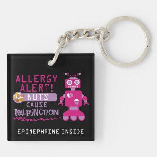 Nuss-Allergie scherzt die rosa personalisierten Schlüsselanhänger
