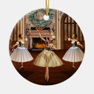 Nussknacker-Ballerina-Weihnachtsrunde Verzierung Keramik Ornament