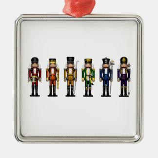 Nussknacker in den Regenbogen-Farben Silbernes Ornament
