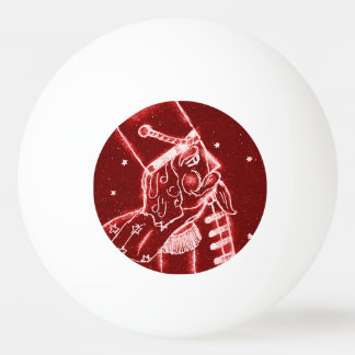 Nussknacker-Spielzeug-Soldat im hellen Rot Ping-Pong Ball