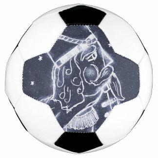 NUSSKNACKER-SPIELZEUG-SOLDAT im mittleren Blau Fußball