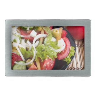 Nützlicher und natürlicher Gemüsesalat der Tomate Rechteckige Gürtelschnallen