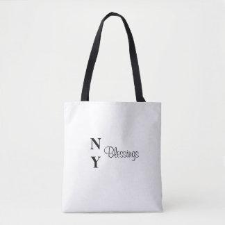 NY Segen-inspirierend Schwarzweiss-Tasche Tasche