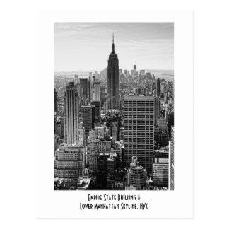 NY Stadtskyline-Reich-Staats-Gebäude, WTC BW Postkarte