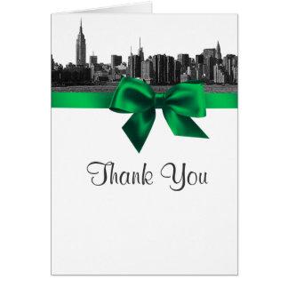 NYC breite Skyline ätzten BW-Grün danken Ihnen Karte