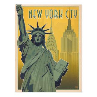 NYC - Dame Liberty - Gelb Postkarte